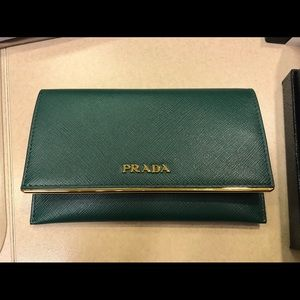 Prada leather credit card holder